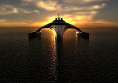 Super yacht on sundown