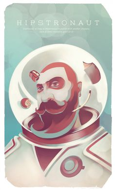 Hipstronaut illustration for Publish Magazine