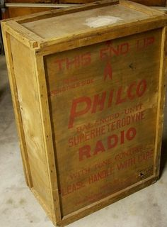 Vintage Radios-and Radio Stuff / Large Wooden Philco Radio wooden Shipping Crate Salina Kansas 1930's