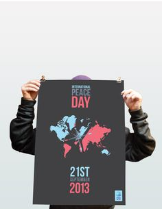Peace One Day #red #campaign #print #design #graphic #screenprint #poster #blue #grey