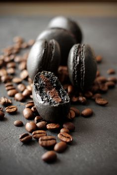 Zoom Photo #coffee #macaron #black