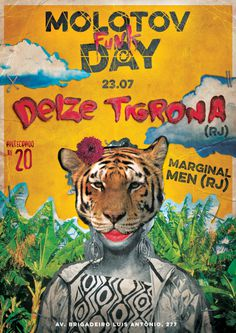 #collage #design #tiger #animal #yellow #brazil #type #poster #music #show #funk #riodejaneiro #rj