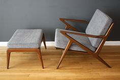 "Vintage Mid-Century ""Z"" Chair with Ottoman by Poul Jensen"