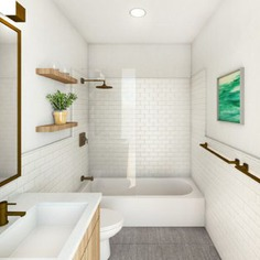 Inspiration for a small modern white tile and subway tile cement tile floor and gray floor bathroom remodel in New York with flat-panel cabinets, medium tone wood cabinets, white walls, an undermount sink, engineered quartz countertops and white countertops