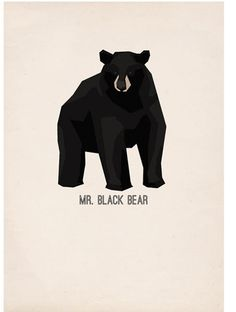 Mr Black Bear - poster #vector #print #black #paper #illustration #gif #poster #bear #animal