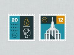 Dribbble - NYC Stamps by Eric R. Mortensen #illustration #stamps #icons
