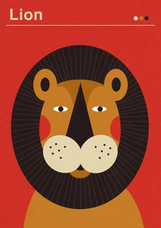 Animals, animal, lion, illustration, color, red, brown