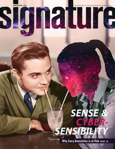The cover for the March/April 2016 issue of Signature #magazine blends retro romance with intergalactic elements - Designer, Sam Hasinur