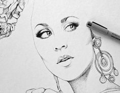 Ã‹lodie, colagene.com #ink #eyes #earrings #details #portrait #jewelry #pen #face #dot #beauty