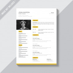White cv template with yellow details Free Psd. See more inspiration related to Mockup, Business, Template, Resume, Cv, Web, Website, Cv template, White, Yellow, Mock up, Job, Document, Psd, Curriculum vitae, Templates, Website template, Page, Interview, Curriculum, Resume template, Mockups, Up, Experience, Web template, Employment, Realistic, Real, Web templates, Details, Employer, Mock ups, Mock, Paperwork, Psd mockup, Ups and Vitae on Freepik.