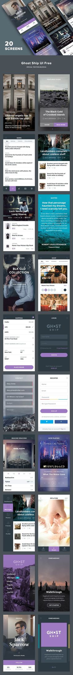 Free Ghost Ship Mobile UI Kit PSD template