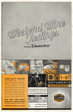 Weekend Wine Tastings #script #wine #map #illustration #poster