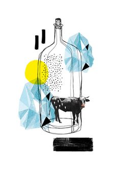 Flaschenpost #illustration #collage #cow #maria fischer #flaschenpost #message #in #a #bottle #kuh