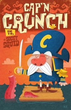 Cap'n Crunch vs Soggy Squid by ~skutterfly on deviantART #duel #the #illustration #cap #squid