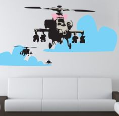 Banksy Happy Chopper Wall Decal #tech #flow #gadget #gift #ideas #cool