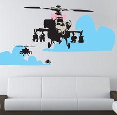 Banksy Happy Chopper Wall Decal #tech #flow #gadget #gift #ideas #cool