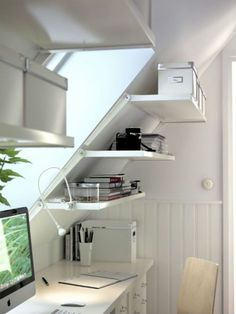 stairs, office, shelving