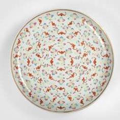 Large bowl with bat and cloud decoration in polychrome enamel colors #Sets #Tea sets #Porcelain sets #Antique plates #Plates #Wall plates #Figures #Porcelain figurines #porcelain