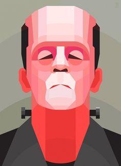 Frankenstein on the Behance Network #illustration #geometric #vector #portrait #zombie #monster #frankenstein