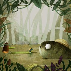 A Smile For Little Frog on Behance #woods #fish #illustration #forest #frog