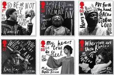 Set of 6 stamps depicting characters from Shakespeare Plays. #print #stamps