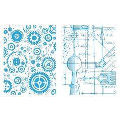 Sizzix Texture Fades Embossing Folders By Tim Holtz 2/Pkg Blueprint & Gears
