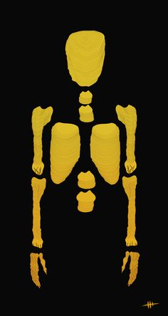 Bones / Print Illustration #yellow #design #illustration #skull #bones