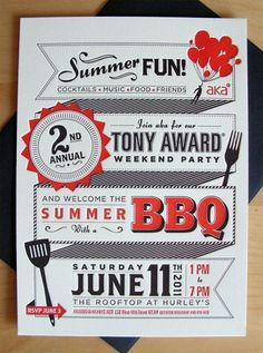 AKA Tony Award BBQ Invite on the Behance Network #graphic design #typography #poster #letterpress