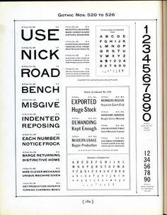 Gothic Nos. 520–526 type specimen #type #specimen #typography