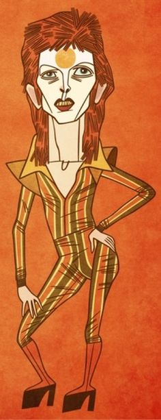 David Bowie : Toby Thane Neighbors | Illustration #pose #toby #caricature #illustration #thane #music #man #standing #david #bowie