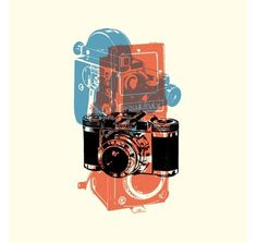 grain edit · Eric Smith / I Draw All Day #red #camera #print #black #screen #three #blue