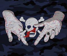 skull #camo #skull #hand #camouflage