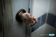 I Believe in Advertising | ONLY SELECTED ADVERTISING | Advertising Blog & Community » Sanzer hand gel: Doorknob #advertising