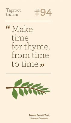 Poster #thyme #taproot #poster