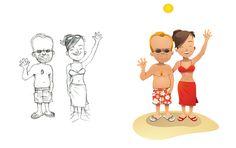 Babs #holliday #people #simple #illustration #beach