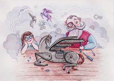 Zaczarowana Walizka #clouds #machine #mechanism #pegasus #grandpa #workshop #illustration #wings #watercolor #pony #watercolour