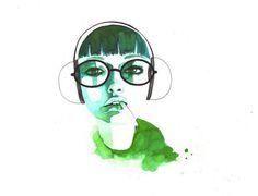 Artist Lantomo (2) #girl #illustration #painting #watercolor #drawing #green