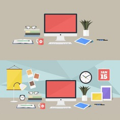 Coloured workplaces design Free Psd. See more inspiration related to Design, Computer, Office, Color, Flat, Desk, Tablet, Flat design, Workplace, Colour, Workspace, Office desk, Colored, Coloured and Workplaces on Freepik.