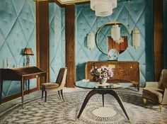 The Carpet Index: An Example of Ruhlmann's Style: The c1932 Dubly Drawing Room with a Sourzac Round Carpet. Part 3 of 3 #interior #design #1930s #vintage #art #deco #ruhlmann