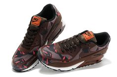 """Nike Air Max 90 Shoes Premium Tape \""""Camo Pack\"""" Petra Brown Athletic Sneakers for Male"""