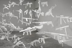 iheartmyart ♥ — Sarah Frost, Arsenal Installation, 2010-2011,... #weapons #installation #frost #sarah #paper #arsenal