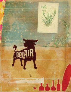 Art of the Menu: BelAir Cantina #menu #color #palette #cover #illustration #silhouette