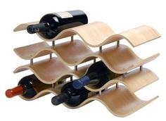 10-Bottle Wave Wine Rack in Natural