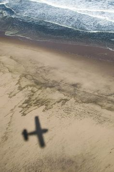 Airplane shadow.