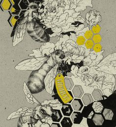 { teaganwhite } design #bees #illustration #yellow #grey