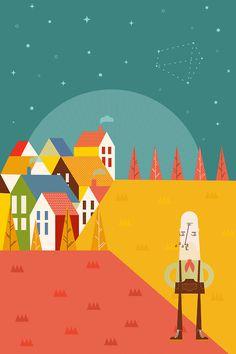 Lucas Jubb #vector #house #illustrator #night #trees #illustration #shape #autumn #stars #music #editorial #magazine