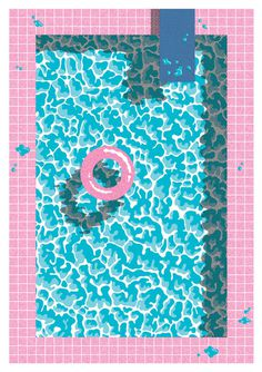 pool 80 #pink #pool #illustration #80s #blue