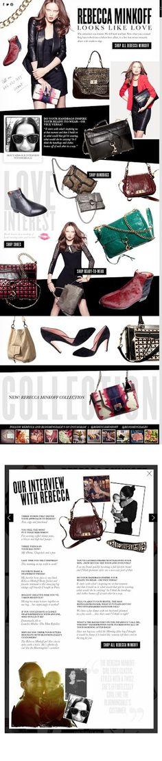 Rebecca Minkoff Fall 2012 for bloomingdales.com Fun with parallax scrolling! #lookbook #design #rebecca #fall #minkoff #scrolling #photography #parallax #fashion #web