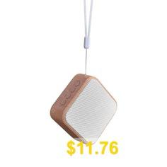 Mini #Wood #Grain #Portable #Wireless #Bluetooth #Speaker #with #Microphone #TF #Card #- #MILK #WHITE