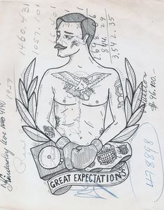 Mo Boxer | Great Expectations #illustration #boxer #tattoo #moustache
